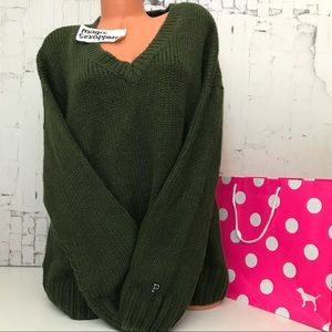 VS PINK M L BOYFRIEND SWEATER LOGO OVERSIZED KHAKI